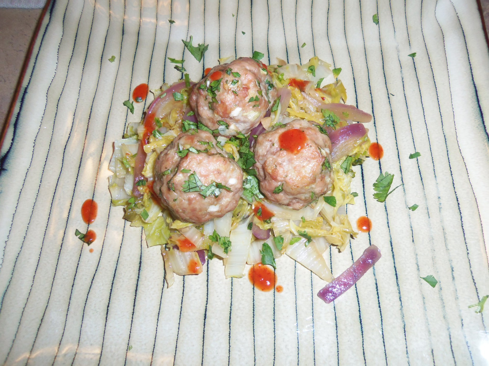 Savory Pork Meatballs with Napa Cabbage Stir-Fry